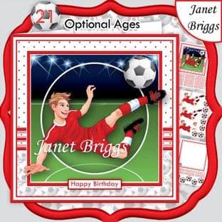 FOOTBALL STRIKER 7.5 RED KIT Soccer Decoupage Ages Card Kit digital download