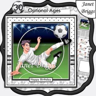 FOOTBALL STRIKER 7.5 WHITE KIT Soccer Decoupage Ages Card Kit digital download
