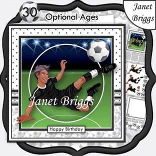 FOOTBALL STRIKER ETHNIC 7.5 B&W KIT Soccer Decoupage Ages Card Kit digital download