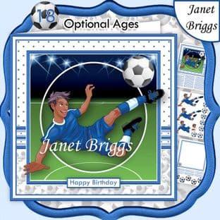 FOOTBALL STRIKER ETHNIC 7.5 BLUE KIT Soccer Decoupage Ages Card Kit digital download