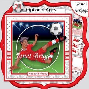 FOOTBALL STRIKER ETHNIC 7.5 RED KIT Soccer Decoupage Ages Card Kit digital download