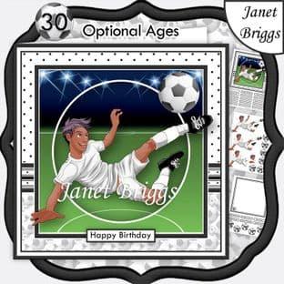 FOOTBALL STRIKER ETHNIC 7.5 WHITE KIT Soccer Decoupage Ages Card Kit digital download