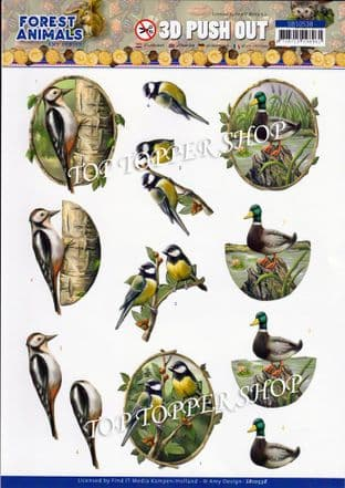 Forest Animals Birds Die Cut Decoupage Sheet Amy Design Push Out SB10538