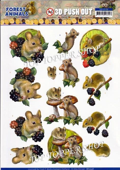Forest Animals Mice Die Cut Decoupage Sheet Amy Design Push Out SB10536