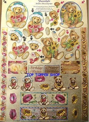 FREESTYLE DUFEX DIE CUT DECOUPAGE & TOPPERS TEDDIES