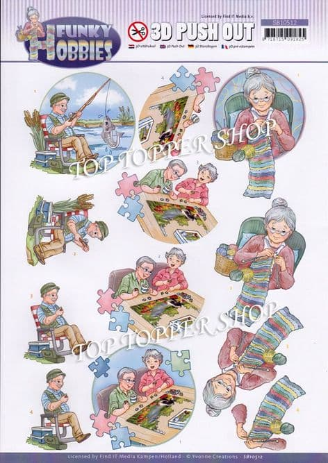 Funky Hobbies  Knitting Fishing & Jigsaw Die Cut Decoupage Sheet Yvonne Creations Push Out SB10512