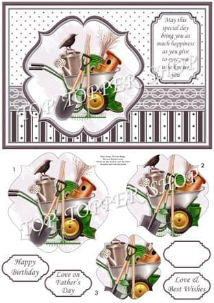 GARDENING TOOLS A5 Quick Pyramage Card  Kit digital download 923CBX