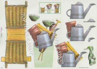 Gardening Watering Can Stand Up Card & Decoupage Sheet  Requires Cutting 018