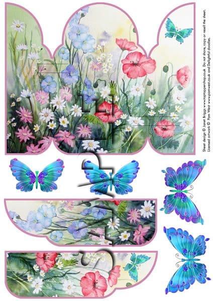 Gatefold Pop Up Decoupage Card  Printed Sheet