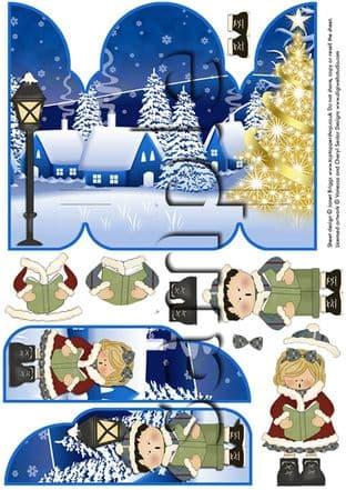 Gatefold Pop Up Decoupage Christmas Carol Singers Printed Sheet