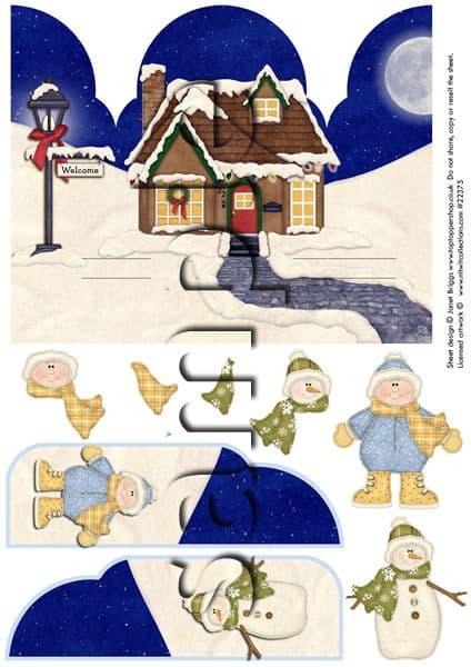 Gatefold Pop Up Decoupage Christmas Snowman Boy Printed Sheet