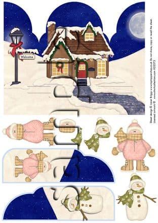 Gatefold Pop Up Decoupage Christmas Snowman Girl Printed Sheet