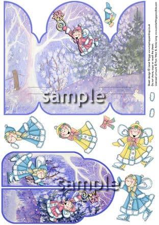 Gatefold Pop Up Decoupage Snow Pixies Printed Sheet
