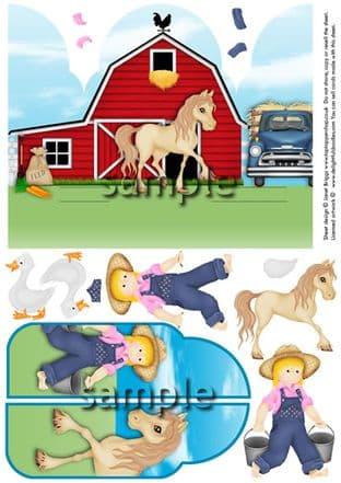 Gatefold Pop Up The Farm Horse Decoupage Card  Printed Sheet