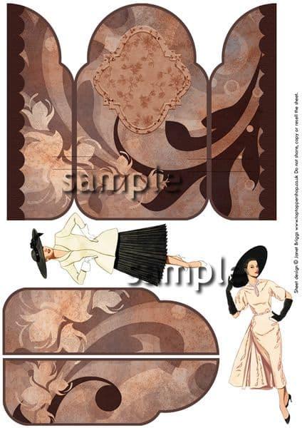 Gatefold Pop Up Vintage Fashions Decoupage Card  Printed Sheet