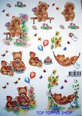 GET WELL, BIRTHDAY & THANK YOU BEARS DECOUPAGE 8543