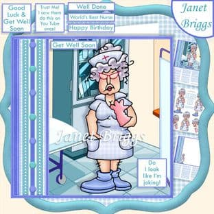 GET WELL DO I LOOK LIKE IM JOKING 7.5 Decoupage  Card Kit digital download
