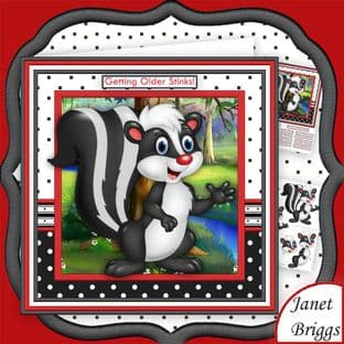 Getting Older Stinks 8x8 Humorous Skunk Card Making Download by Janet Briggs