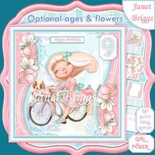 GIRL ON BIKE 7.5 Decoupage & Optional Ages  Card Kit digital download
