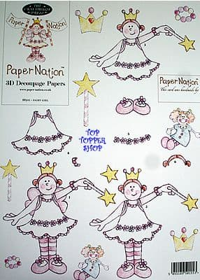 GIRLS - FAIRY GIRL PAPER NATION A4 SBS DECOUPAGE SHEET