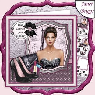 GLAMOUR LADY 7.5 Decoupage & Insert Kit DIGITAL DOWNLOAD