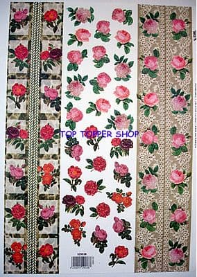 GLITTERED FLORAL BORDERS DECOUPAGE SHEET TBZ 038