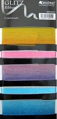GLITZ RIBBONS 5 YARDS RAINBOW COLOURS - KANBAN