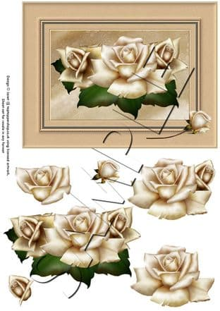 GOLDEN ROSES DECOUPAGE  sheet