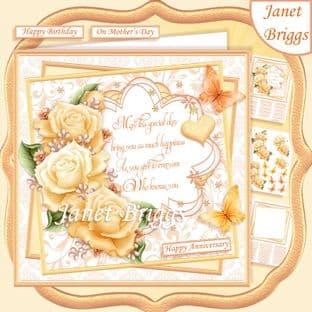 GOLDEN ROSES & VERSE 7.5 Decoupage  Card Kit digital download