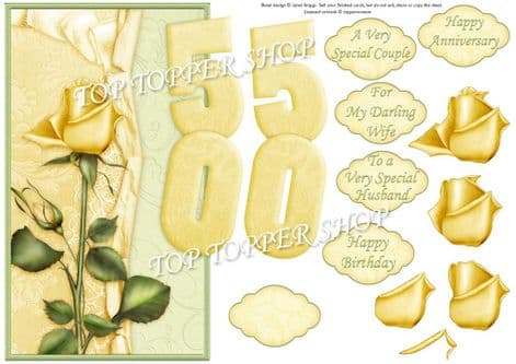 Golden Wedding Anniversary Or Birthday Over The Side Printed Sheet 424jw