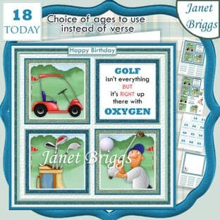 GOLF 7.5 Quick Card Verse or Ages Decoupage Card Kit digital download