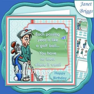 GOLF THE PASSING YEARS 7.5 Decoupage Card Kit digital download