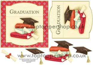 Graduation Books Topper & Decoupage Printed Sheet 504nw
