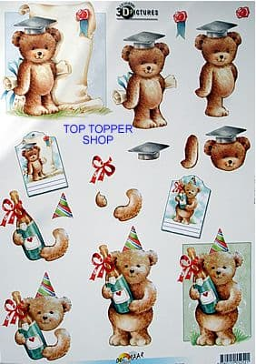 GRADUATION / CELEBRATION BEARS DECOUPAGE SHEET 252