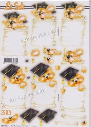 Graduation Cuties A4 Die Cut Decoupage Sheet Le Suh 680.031