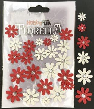 Handmade Flowers Hobbyfun Red & Cream Gems Florella 3866152