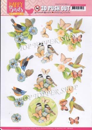 Happy Birds A4 Die Cut Decoupage Sheet Jeanine's Art Push Out SB10417