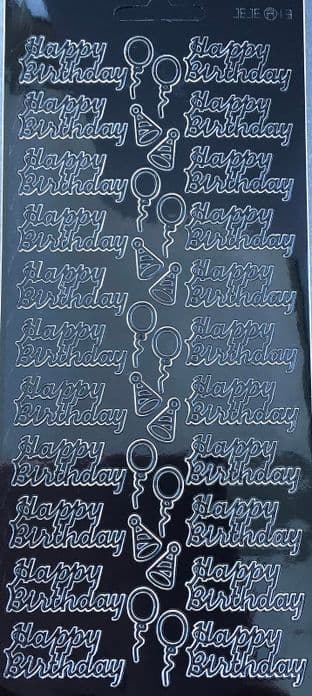 HAPPY BIRTHDAY  BLACK PEEL OFF STICKERS J13