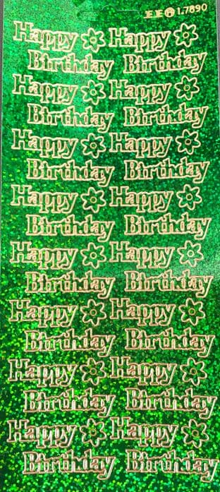 Happy Birthday Holographic Green Peel Off Stickers 1.7893