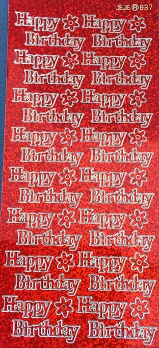 HAPPY BIRTHDAY large, HOLOGRAPHIC RED PEEL OFF STICKERS 837