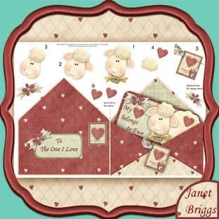 HEART BELONGS TO EWE Envelope Shape Card & Decoupage printed sheet 376