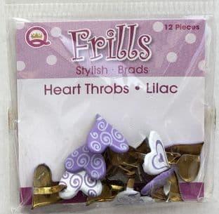 HEART THROBS 12 LILAC BRADS