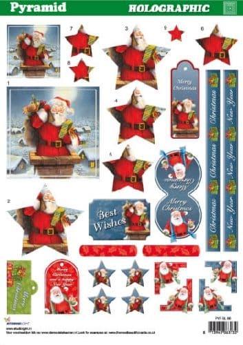 HOLOGRAPHIC PYRAMID DECOUPAGE CHRISTMAS SANTA STUDIO LIGHT 66