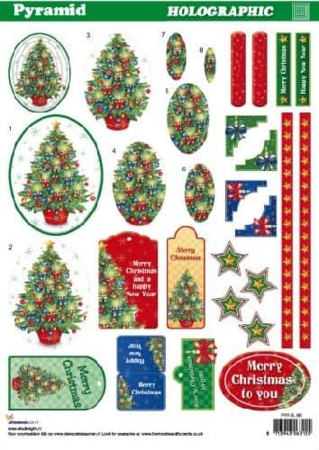 HOLOGRAPHIC PYRAMID DECOUPAGE CHRISTMAS TREE STUDIO LIGHT 65