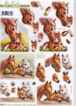 Horses A4 Die Cut Decoupage Sheet Le Suh 680.111