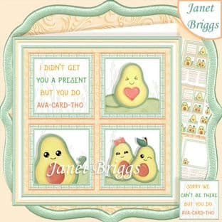 HUMOROUS AVOCADO SQUARES 7.5 Quick Layer Card Kit digital download
