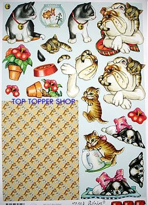 HUMOROUS CATS & DOGS MARY RAHDER DECOUPAGE