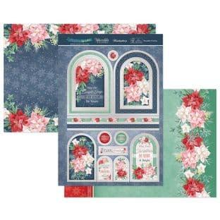 Hunkydory Christmas Sparkle Luxury Card Topper Kit - Poinsettia Promise