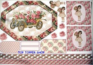 KANBAN CARD TOPPERS - VINTAGE ROSES, CAR & GIRL