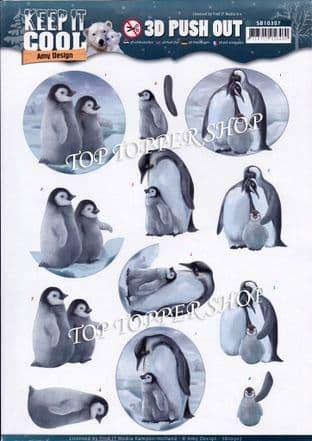 Keep it Cool Penguins Die Cut Decoupage Sheet Amy Design Push Out SB10307